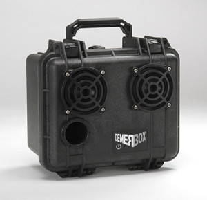 The DemerBox Big Bang is an ultra-rugged portable Bluetooth speaker and amp. It's acoustically tuned for incredible fidelity and punchy bass, highly water resistant and made from a genuine Pelican Brand case. Our Black Barrow, like all our other colorful Demer Boxes, features a rechargeable lithium-ion battery that will last all day.  Give it a listen!